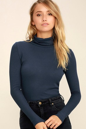 Cozy Den Navy Blue Turtleneck Top at Lulus.com!