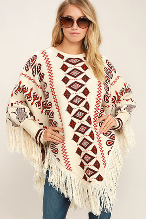 Get Groovy Cream Print Poncho Sweater at Lulus.com!