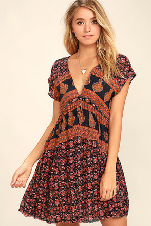 O'Neill Deb Navy Blue Print Dress at Lulus.com!