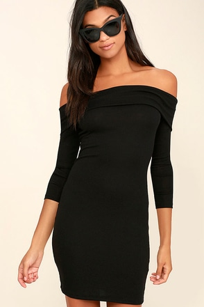 Made with Love Dark Grey Off-the-Shoulder Dress at Lulus.com!