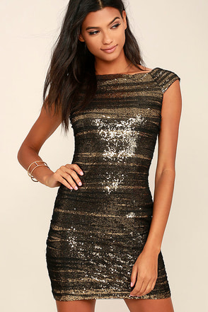 Feeling Alive Gold and Black Sequin Dress 1
