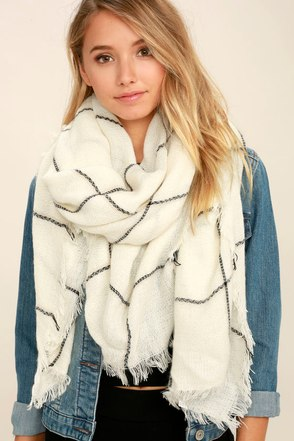 Graph Theory Cream Grid Print Scarf at Lulus.com!