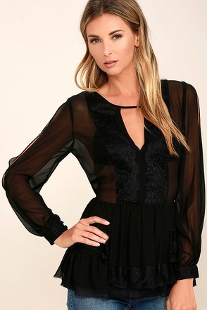Gives Me Butterflies Black Lace Top at Lulus.com!