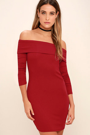 Made with Love Red Off-the-Shoulder Dress at Lulus.com!
