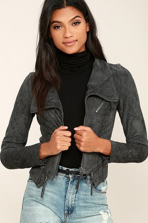 Ready For Anything Charcoal Grey Suede Moto Jacket at Lulus.com!