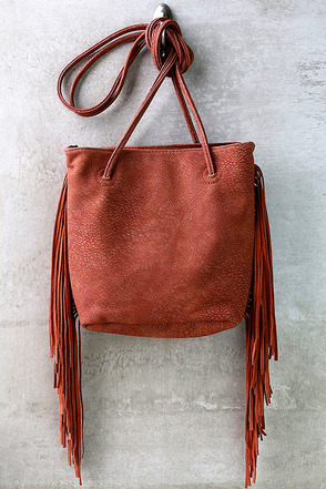 Open Road Rust Red Fringe Bag at Lulus.com!