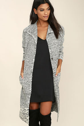 Mink Pink White Noise Black and White Long Cardigan Sweater at Lulus.com!