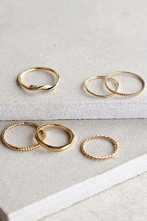 Stunning Set Gold Ring Set at Lulus.com!