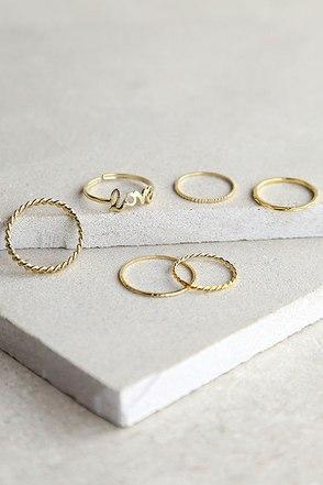 Let Me Love You Gold Ring Set at Lulus.com!