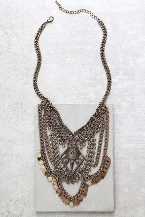 Ancient Civilization Gold Statement Necklace at Lulus.com!