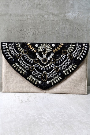 Mystery Date Black and Beige Beaded Clutch at Lulus.com!