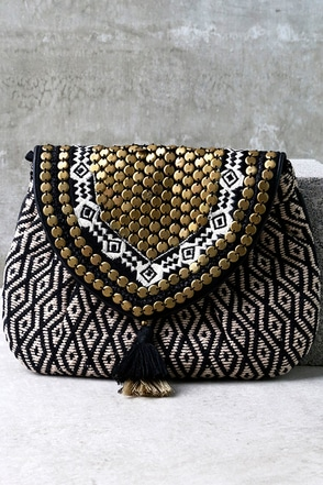 Cape Horn Beige and Black Beaded Clutch at Lulus.com!