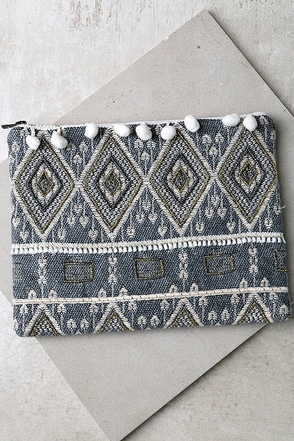 Brazilian Nights Slate Blue Beaded Clutch at Lulus.com!
