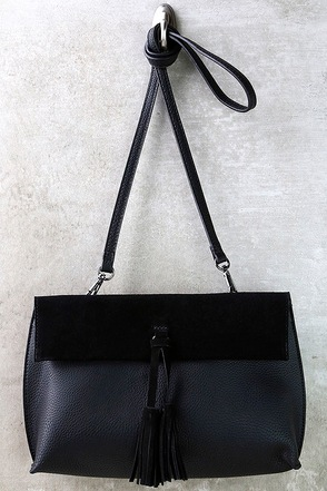 Forever Amused Black Suede Leather Purse at Lulus.com!