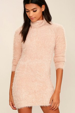 Mink Pink Soft Serve Blush Pink Sweater Dress at Lulus.com!