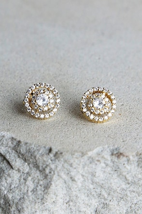 Sure to Stun Gold Rhinestone Earrings at Lulus.com!