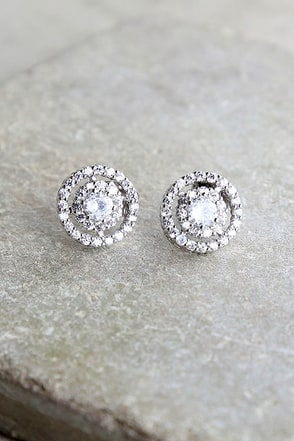 Sure to Stun Silver Rhinestone Earrings 1