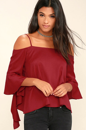 Socialite Dark Red Long Sleeve Top at Lulus.com!