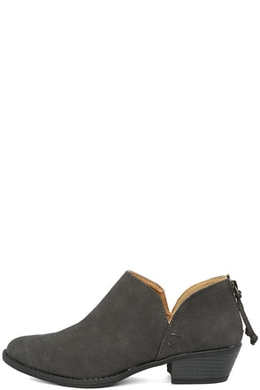 Stands Apart Charcoal Nubuck Ankle Booties at Lulus.com!
