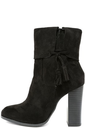 All on the Line Black Suede High Heel Booties at Lulus.com!