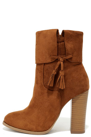 All on the Line Tan Suede High Heel Booties at Lulus.com!