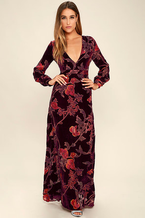 Practical Magic Burgundy Velvet Floral Print Maxi Dress at Lulus.com!