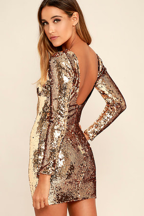 Dress the Population Lola Gold Sequin Dress at Lulus.com!