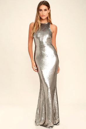 Notorious Silver Sequin Maxi Dress at Lulus.com!