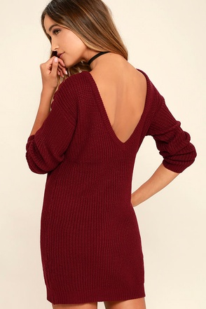 Bringing Sexy Back Black Backless Sweater Dress at Lulus.com!