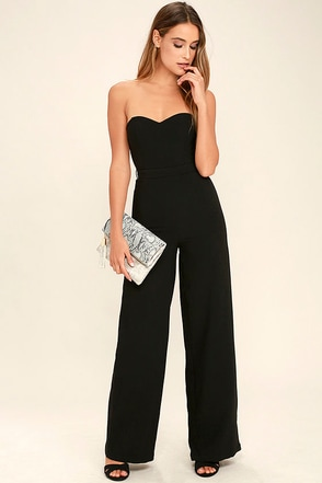 Pop Life Black Strapless Jumpsuit at Lulus.com!