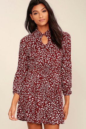 Jack by BB Dakota Jamila Wine Red Print Dress at Lulus.com!