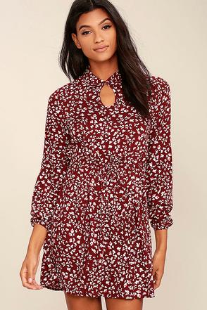 Jack by BB Dakota Jamila Wine Red Print Dress at Lulus.com!