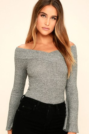 Lucky Star Heather Grey Off-the-Shoulder Top at Lulus.com!