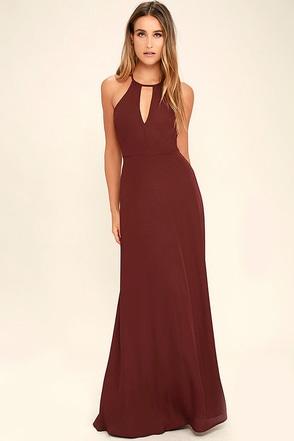 Beauty and Grace Burgundy Maxi Dress 1