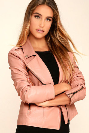 Mink Pink Deputy Pink Vegan Leather Moto Jacket at Lulus.com!
