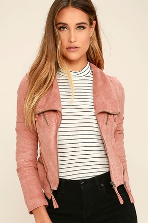 Ready For Anything Blush Pink Suede Moto Jacket at Lulus.com!