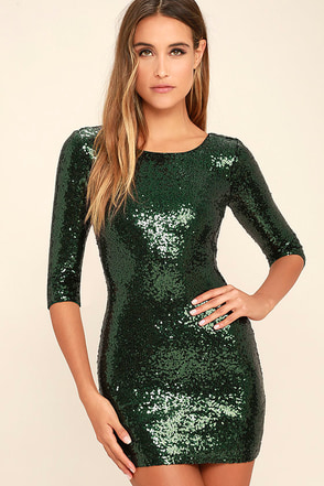 World's a Stage Forest Green Sequin Dress at Lulus.com!