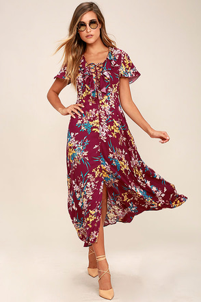 Somedays Lovin' Supremes Plum Purple Floral Print Maxi Dress at Lulus.com!