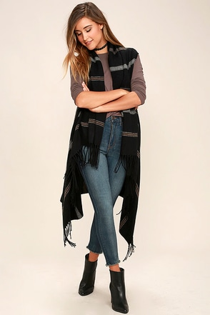 Hill Country Black Striped Poncho at Lulus.com!