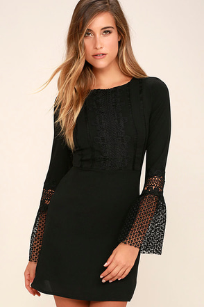 Best Lace Scenario Black Lace Dress at Lulus.com!