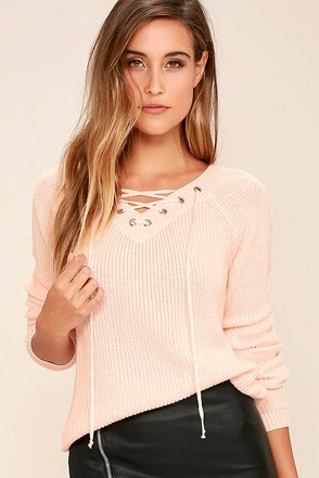 Welcome Home Peach Lace-Up Sweater at Lulus.com!