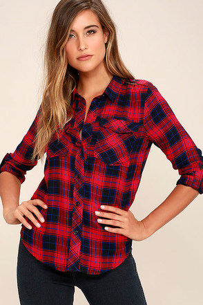 Fiance Red Plaid Flannel Top at Lulus.com!