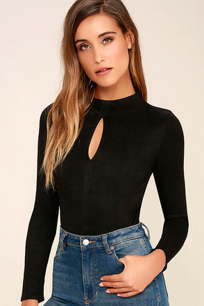 Mink Pink Feel Again Black Suede Bodysuit at Lulus.com!