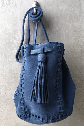 Howdy Partner Blue Leather Drawstring Purse at Lulus.com!