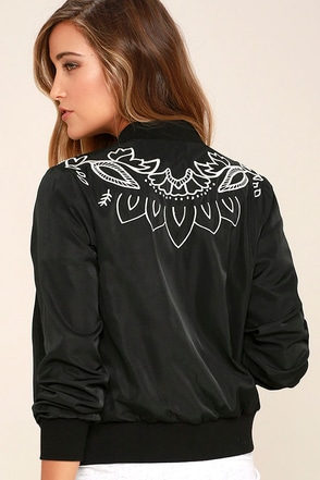 Mink Pink Valley of the Vine Black Bomber Jacket at Lulus.com!