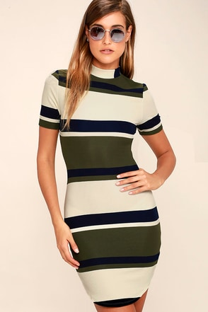 J.O.A. Character Study Olive Green Striped Bodycon Dress at Lulus.com!