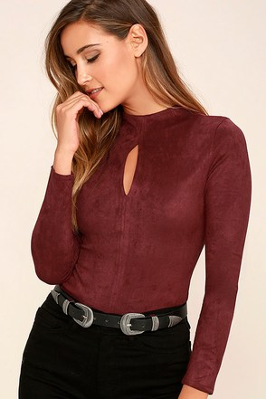 Mink Pink Feel Again Wine Red Suede Bodysuit at Lulus.com!