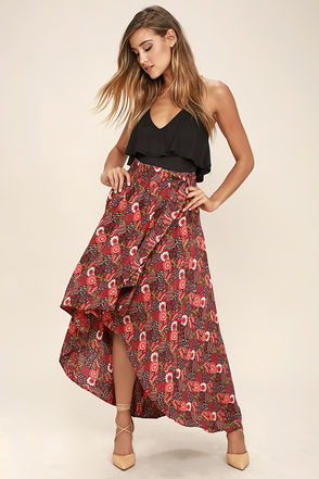 Lucy Love Caravan Washed Red Print High-Low Skirt at Lulus.com!