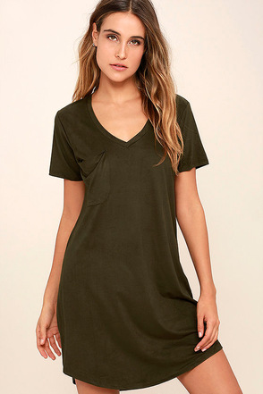Modern Design Olive Green Suede Shirt Dress at Lulus.com!