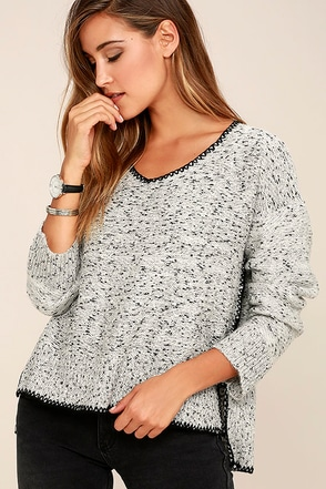 Straight Shooter Grey Sweater at Lulus.com!